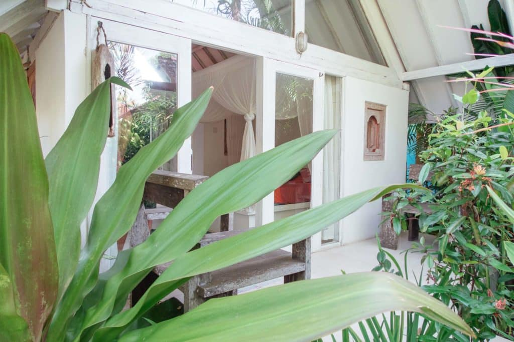 Lush green entrance to our private Bungalow