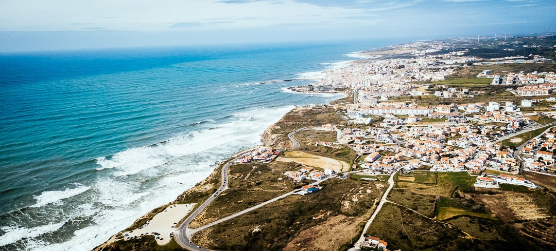 Aerial view from ericeira town and beach